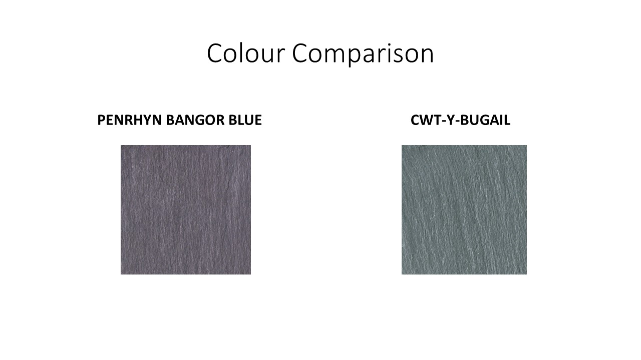 Colour Comparison Penrhyn and Cwt Slate