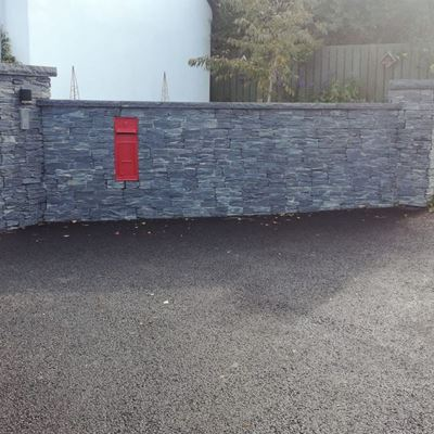 Black Slate Z STone entrance pillars and wall with inbuilt post box - Rocky Road Belfast.jpg
