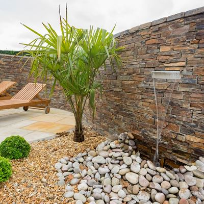 Multi Slate Rustic cladding garden wall with water feature Templepatrick.jpg