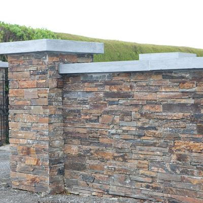 ZStone Multislate entrance walls with Limestone Cap.jpg